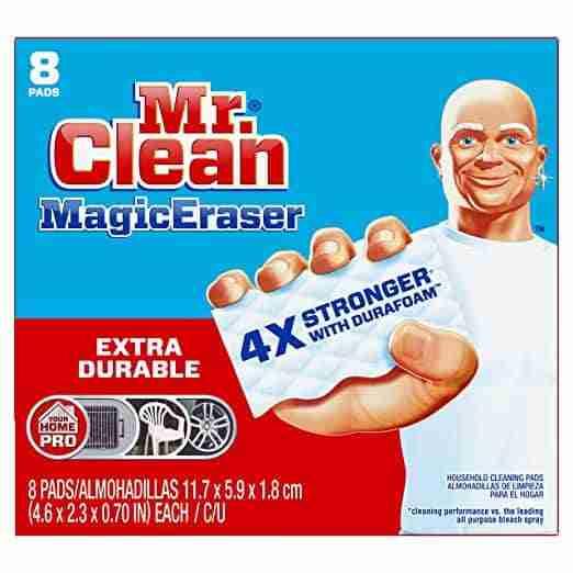 Mr. Clean Magic eraser box with mr. clean holding a magic eraser