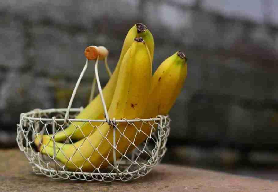 Three bananas in metal basket
