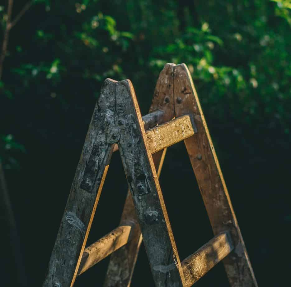 wooden ladder for cleaning bachelor pad