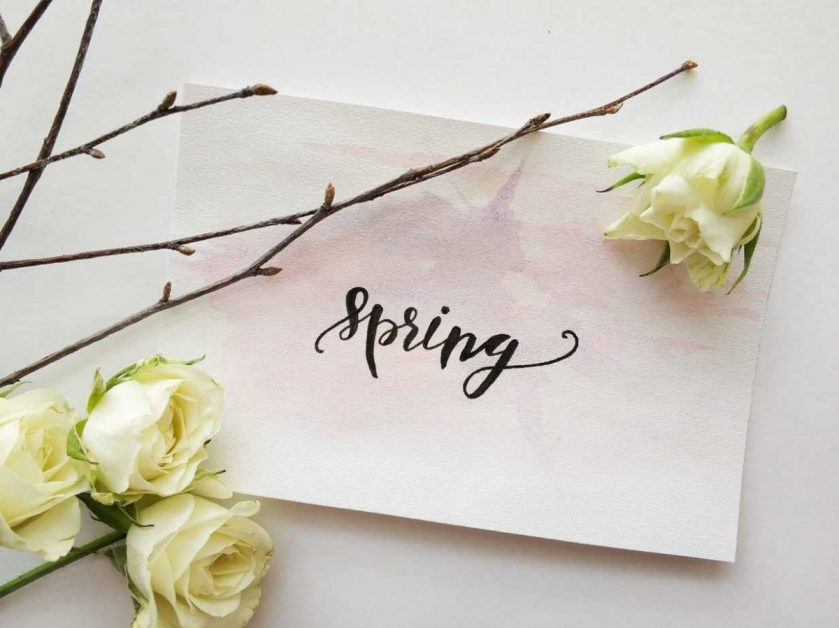 card with word spring surrounded by flowers