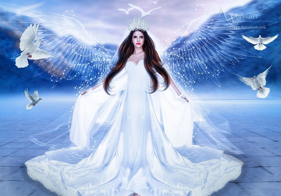 illustration of lady angel surrounded by white doves