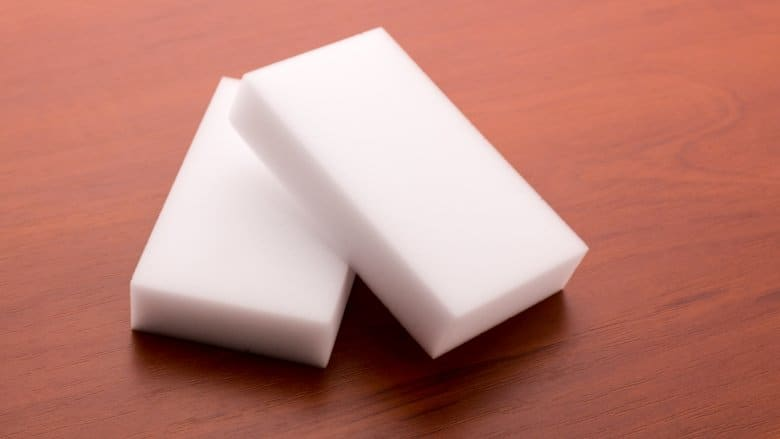 two magic erasers on a table