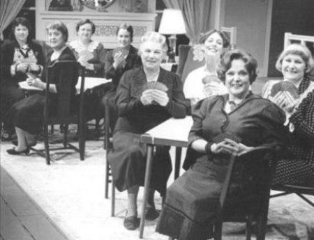 vintage black and white picture of ladies playing bridge