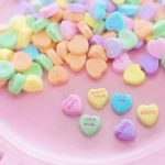 multi colored candy hearts valentines day