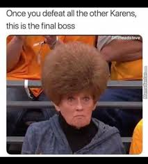 """""""karen"""" meme with lady with big red hair frowning"""