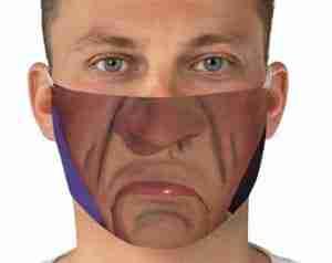 man wearing frowning face mask