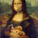 Mona Lisa with mask on and hand sanitizer and toilet paper in hands