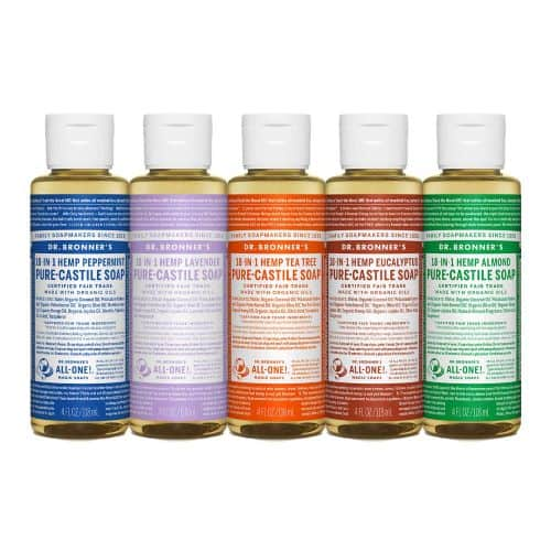 Five bottles of Dr. Bronner's certified organic cleaners
