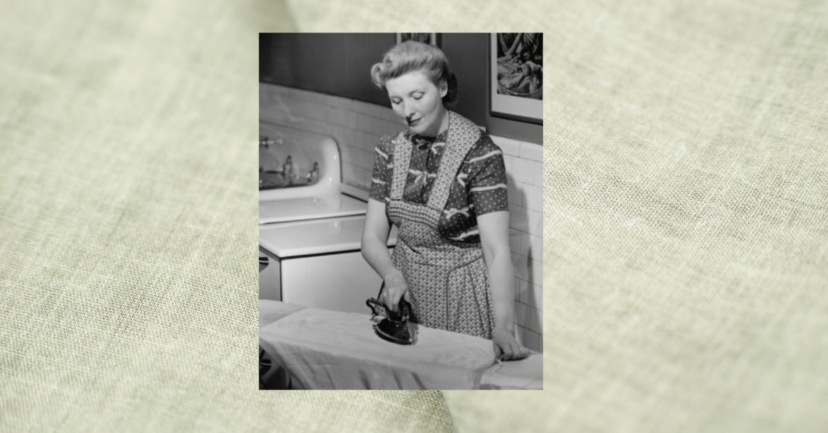 lady ironing from 1950s