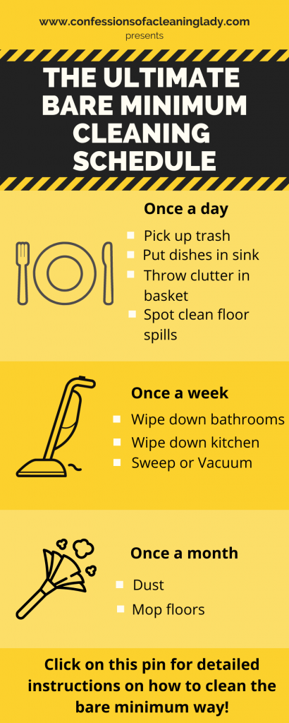 yellow infograph detailing the bare minimum house cleaning schedule