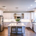 clean modern kitchen with white cabinets and marble island