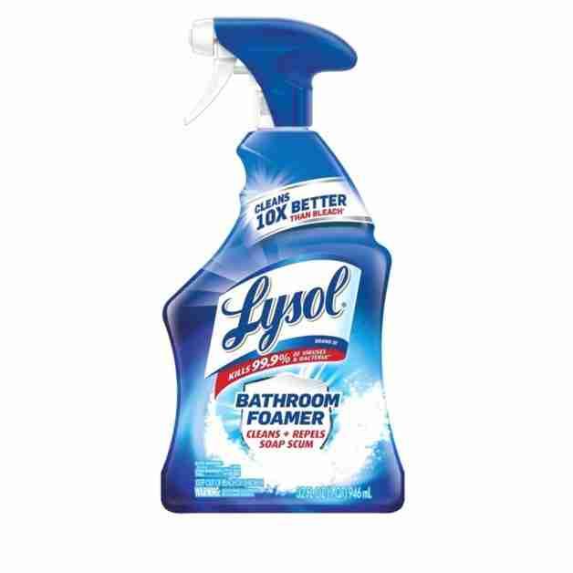 bottle of lysol power bathroom cleaner