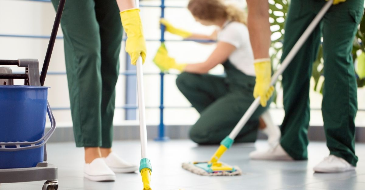 cleaning service cleaning a house