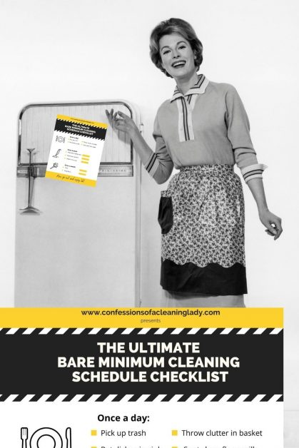 bare minimum cleaning checklist on fridge