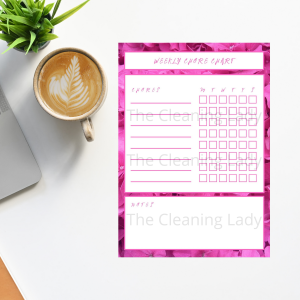 pretty pink weekly chore chart planner