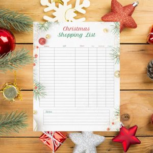 blank christmas shopping list